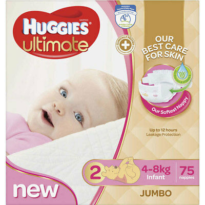 Huggies Ultimate Size 2 Girl 4-8kg 75 Nappies/Nappy Jumbo Pack/Disposable Diaper