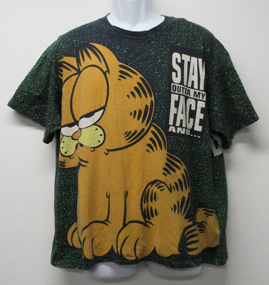 VTG 90's GARFIELD Stay Outta My Face Get Off My Back Double Sided T Shirt sz BIG