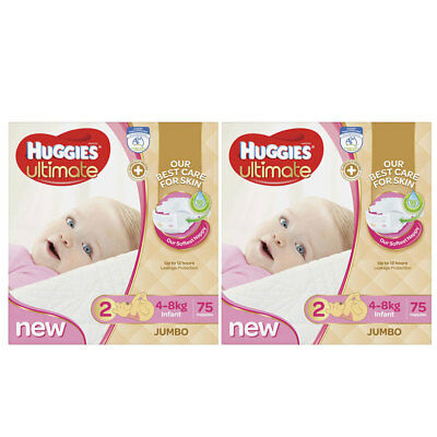 Huggies Ultimate Size 2 Girl 4-8kg 150 Nappies/Nappy Jumbo Pk/Diaper Disposable