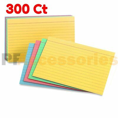 """300 Ct Ruled Front Blank Back Color Index Card Note Cards 3x5"""" inch Pack of 3000"""