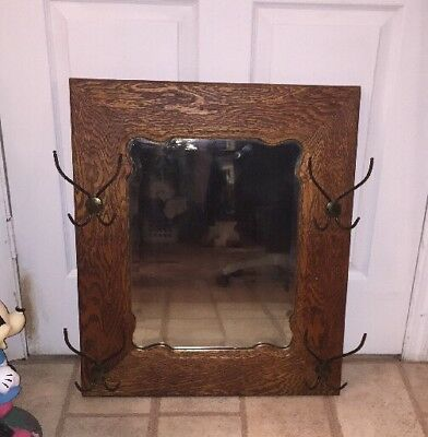 Antique Oak Beveled Glass Hall Mirror with 4 Brass Hangers Heavy 15 Lbs. 27x23