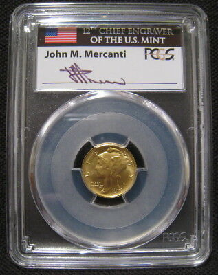 2016 W 10c GOLD MERCURY DIME FIRST DAY ISSUE PCGS SP70 100 Anniversary Mercanti