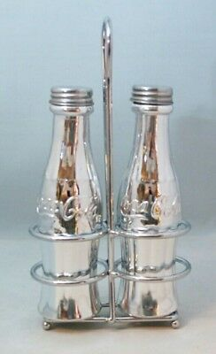 Coca Cola Contour Bottle Silver Plated Glass Salt & Pepper Shakers w Rack Gift
