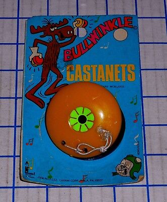 Vintage 1973 J. Ward Rocky and Bullwinkle Castanets #2232 with Card Hong Kong