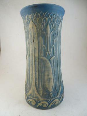 "Antique Red Wing Brushware Lily Art Deco Table Vase 12"" Tall Vintage Pottery Old"