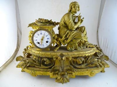 Antique Statue Shelf Mantel Clock Gold Gilt French Japy Freres LARGE Chime Vtg