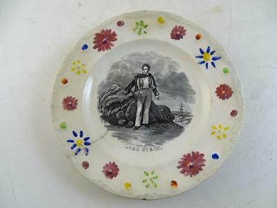 Antique Souvenir Plate Lord Lyron Transferware Staffordshire Dish 1800s Vintage