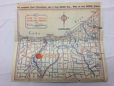 Vintage 1938 Sohio Advertising National Air Races Cleveland Ohio Map on Back