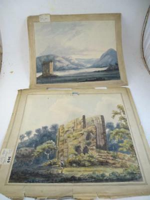 Antique 1797 Watercolor Painting Original Loch Linnhe Castle Stalker Appin UK x2