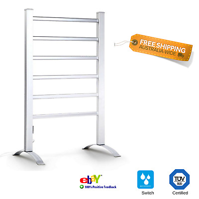 NEW Portable Heated Towel Rail Free Standing Rack 6 Heating Bars Bathroom Dry