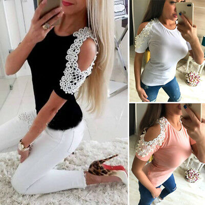 Women Ladies Summer Cotton Short Sleeve Casual Shirt Tops Blouse T-Shirt US STOC