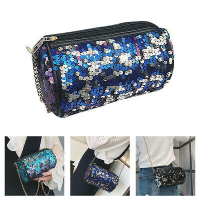 Shoulder Bag PU Leather Sequins Satchel Metal Chain Handbag Messenger Bags