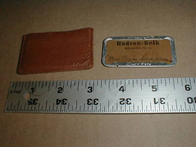 vtg old metal credit card plate tag Hudson Belk store Raleigh NC 1930s Seagroves