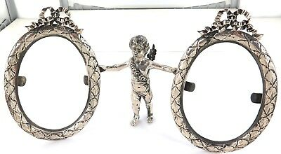 .stunning Vintage Sterling Silver Cherub Double Sided Free Standing Photo Frame