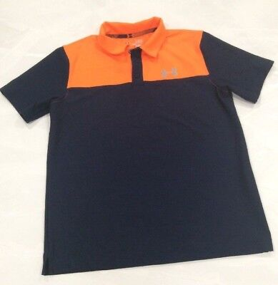 Under Armour Polo Boys Youth Large Navy and Orange