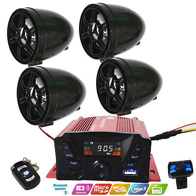 Bluetooth Wireless Speakers Audio System Stereo MP3 Radio ATV UTV Scooter Marine