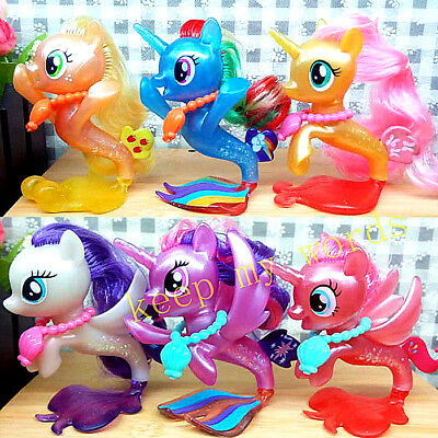 6 Pcs My Little Pony Fluttershy Rainbow Dash Pinkie PVC Figure Loose Play Toy