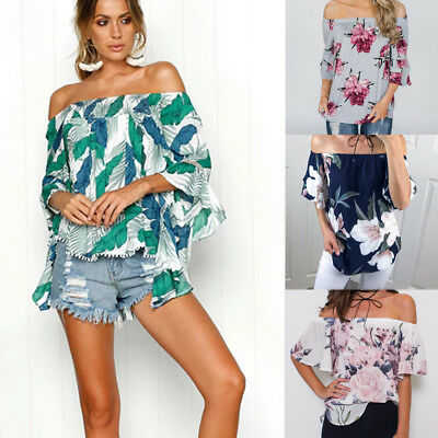 Women Floral Print 1/2 Sleeve Off Shoulder Loose Casual Swing Tops Shirt Blouse