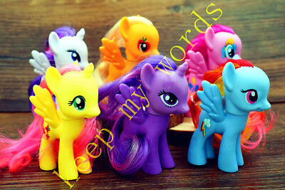 6 Pcs 8cm My Little Pony Lovely Play Doll Real Hair PVC Figure Toy Gift Girl Kid