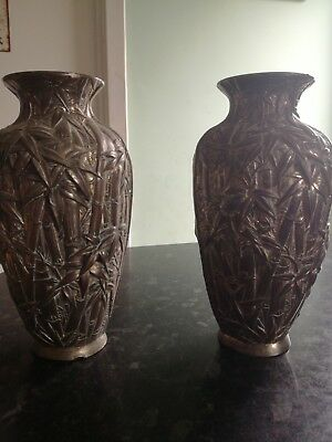Pair of vases (bamboo pattern)