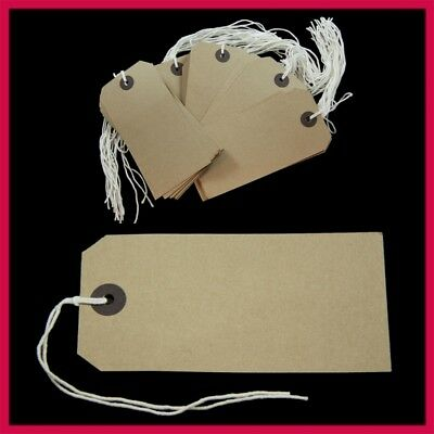 Manilla Brown Strung Tags 96m x 48mm String Tie On Reinforced Labels Craft Gift