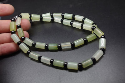 Chinees Exquisite natural translucence jade cylindrical beads Necklaces L:58cm .