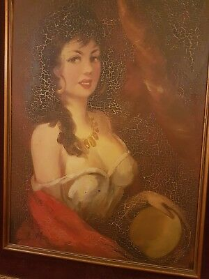 beautiful old painting of a woman  velvet wooden frame