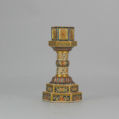 Antique 19C Japanese Satsuma Candle Stick Richly Decorated Marked Base