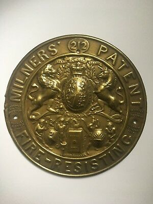 Milners Brass Antique/vintage Fire Safe Plaque/Plate (used but good condition)