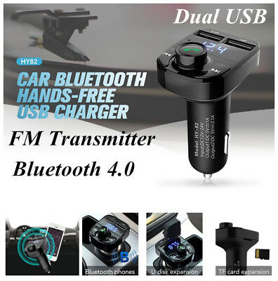 Dual USB Wireless Bluetooth Car Kit Charger FM Transmitter MP3 Player handsfree