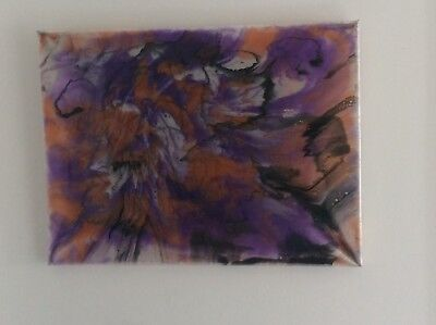 resin pour canvas Framed multi colours with acrylic 24x18 abstract original