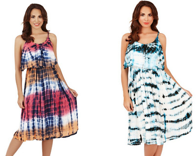 Ladies Pistachio Tie Dye Strappy Dress with Frill Overlay Tonal Blue Pink Summer