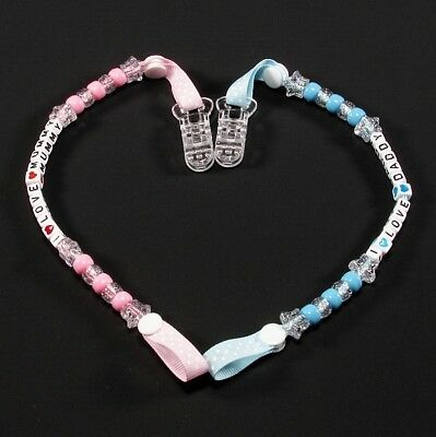 I Love Mummy / Daddy Baby Girls / Boys Soother Pacifier DUMMY CLIP HOLDER MAM