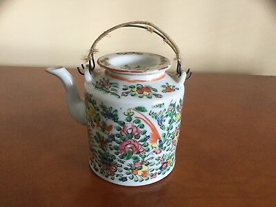 Antique Chinese CANTON ROSE Porcelain Tea Pot-Flowers Birds Butterfly-CHINA