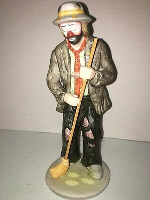 Collectible Emmett Kelly Jr Hobo Clown With Broom Flambro Figurine 8