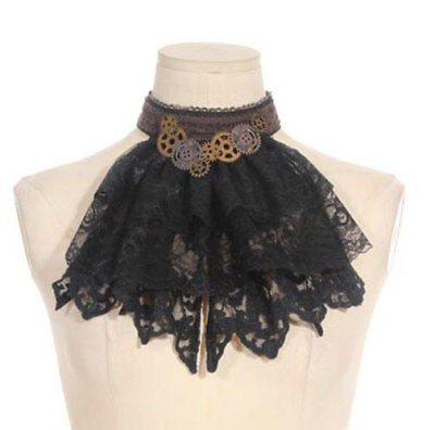 Crop brown and lace black with gears steampunk rqbl RQ-BL