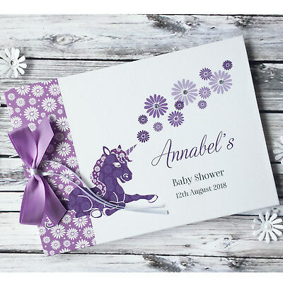Personalised Baby Shower Christening Guest Book Unicorn Album