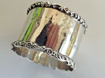 Antique Sterling Silver As Found Napkin Ring by Chester Maker ( Rubbed ) 1906