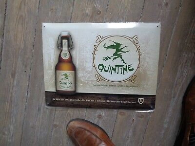 Quintine reclame beer sign metal not new in blister the beer that betwitches you