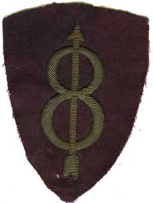 French Made WW1 Bullion 8th Infantry Division Shoulder Sleeve Insignia