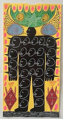 Original art drawing. John McKie Outsider Art Brut Lowbrow. Signed.