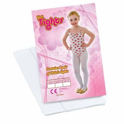 Girls White Tights Dance Ballet Fancy Dress Childs Sizes From 4 -14 Yrs