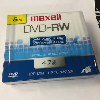 NEW Maxell DVD-RW 120 Min 4.7 GB Data Video Music ReWriteable 5 Pack Single Side