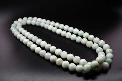 "Certified untreated natural Burmese jadeite jade Round bead necklace.13mm * 40""-"