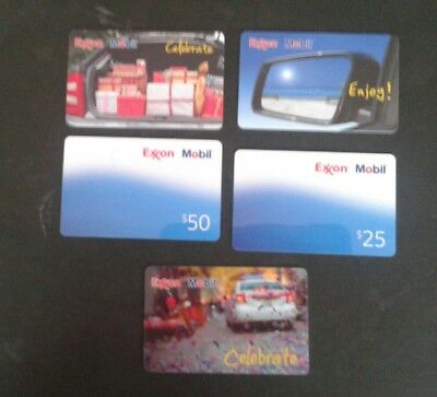 3 EXXON, MOBIL Gift Cards, Enjoy, Celebrate, Collectible, Mint