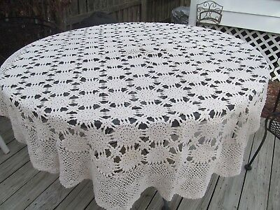 Vintage Ecru Hand Crochet Tablecloth Approx 60 x 72""