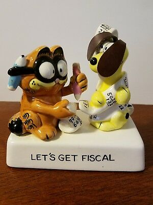 Garfield enesco ceramic figurine odie accountant lets get fiscal vintage
