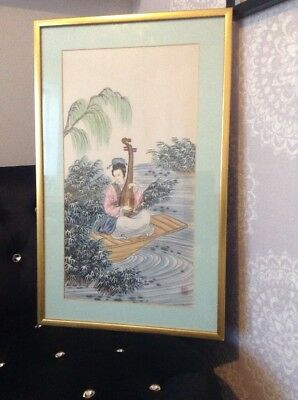 Chinese Silk Painting. Gold Colured Frame.