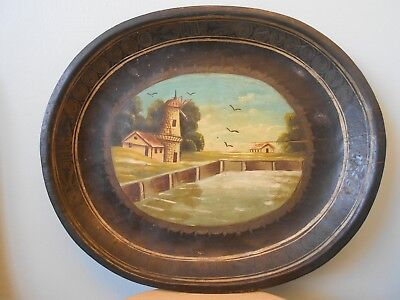 Unusual Antique Victorian Folk Art Painted Wooden Dish/tray