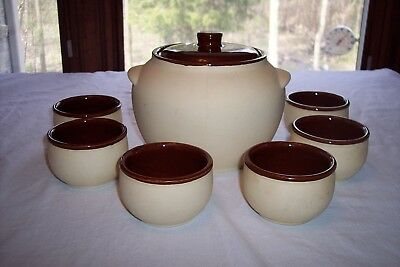 Watt Pottery Bisque Bean Pot w/ Lid & 6 Bean Cups